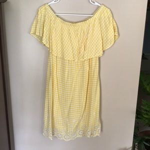 Off the shoulder yellow Plaid dress